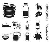 milk product black icons in set ... | Shutterstock .eps vector #1190529061