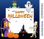 happy halloween background with ... | Shutterstock . vector #1190545561