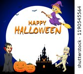 happy halloween background with ... | Shutterstock . vector #1190545564