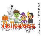 happy halloween background with ... | Shutterstock . vector #1190545567