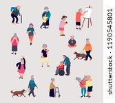 cartoon elderly men and women... | Shutterstock .eps vector #1190545801