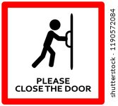 close the door sign. keep this... | Shutterstock .eps vector #1190572084