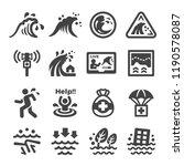 tsunami icon set | Shutterstock .eps vector #1190578087