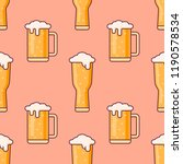 seamless pattern with beer mugs ... | Shutterstock .eps vector #1190578534