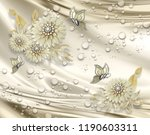 3d wallpaper  jewelry flowers ...   Shutterstock . vector #1190603311
