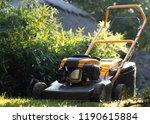 lawn mower cutting green grass... | Shutterstock . vector #1190615884