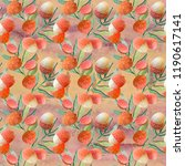 lychee. watercolor seamless... | Shutterstock . vector #1190617141