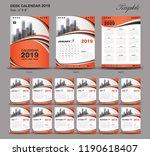 desk calendar 2019 year size  6 ... | Shutterstock .eps vector #1190618407