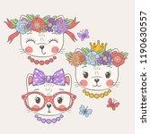 cute cats. sweet girls.... | Shutterstock .eps vector #1190630557