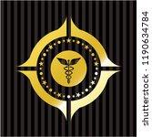 medicine icon inside gold... | Shutterstock .eps vector #1190634784