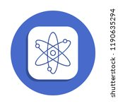 atom icon in badge style. one...