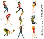 young people play musical...   Shutterstock .eps vector #1190639941