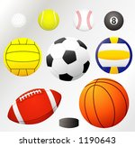 VECTOR! Balls collection -golf,tennis,baseball, billiard,water polo, soccer,volleyball, football... - stock vector