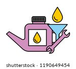 gallon of oil wrench and funnel ... | Shutterstock .eps vector #1190649454