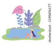 woman in swimwear holding... | Shutterstock .eps vector #1190656177