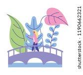 woman standing on the bridge... | Shutterstock .eps vector #1190662321
