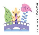 woman standing on the bridge... | Shutterstock .eps vector #1190662384