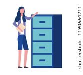 woman holding folder office... | Shutterstock .eps vector #1190664211