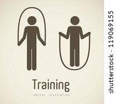 illustration of gym icons  dot...