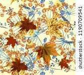 autumn floral vector pattern in ... | Shutterstock .eps vector #1190709541
