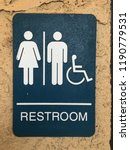 restroom sign with woman  man ... | Shutterstock . vector #1190779531