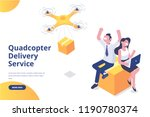 quadcopter delivery service... | Shutterstock .eps vector #1190780374