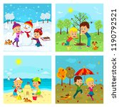 kids,boy and girl at different seasons, illustration,vector