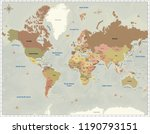 world map  3d rendering  | Shutterstock . vector #1190793151