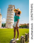 leaning tower of pisa  italy ... | Shutterstock . vector #1190795491