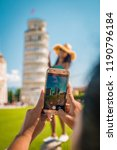 leaning tower of pisa  italy... | Shutterstock . vector #1190796184