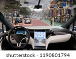 autonomous car with hud  head... | Shutterstock . vector #1190801794