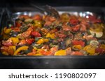roasted vegetables in tray on... | Shutterstock . vector #1190802097