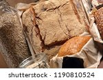 different types of bread and... | Shutterstock . vector #1190810524