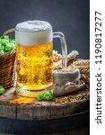 fresh pint of beer with foam ... | Shutterstock . vector #1190817277
