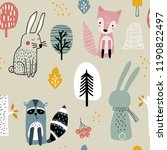 semless woodland pattern with... | Shutterstock .eps vector #1190822497