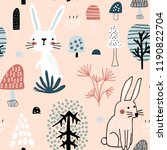semless woodland pattern with... | Shutterstock .eps vector #1190822704