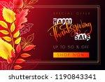 vector greeting thanksgiving... | Shutterstock .eps vector #1190843341