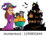 cute witch and cat halloween... | Shutterstock .eps vector #1190852644