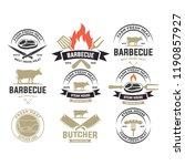vintage meat logos  badges ...   Shutterstock .eps vector #1190857927