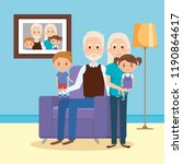 grandparents with grandson and...   Shutterstock .eps vector #1190864617