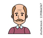 old man bald with mustache... | Shutterstock .eps vector #1190866567