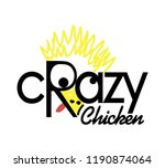 crazy chicken logo design ... | Shutterstock .eps vector #1190874064