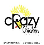 crazy chicken logo design ... | Shutterstock .eps vector #1190874067