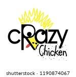 crazy chicken logo design ... | Shutterstock .eps vector #1190874067