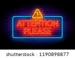 attention please neon sign on... | Shutterstock .eps vector #1190898877