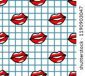 red lips pattern in cartoon... | Shutterstock . vector #1190903047