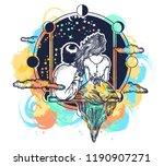 love tattoo watercolor splashes ... | Shutterstock .eps vector #1190907271