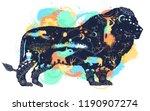 lion double exposure watercolor ... | Shutterstock .eps vector #1190907274