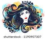 beautiful girl brunette and... | Shutterstock .eps vector #1190907307