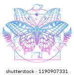butterfly in mystical circle t... | Shutterstock .eps vector #1190907331